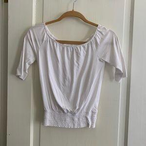 Nightcap Clothing Off Shoulder White Crop Top